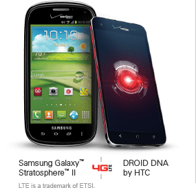 Samsung Galaxy™ Stratosphere™ II and DROID DNA by HTC on 4G LTE.  LTE is a trademark of ETSI.