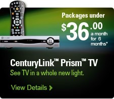 CenturyLink(TM) Prism(TM) TV | Packages under $36.00 a month for 6 months* | See TV in a whole new light. | View Details >
