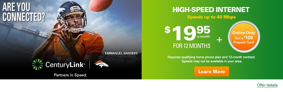 Online only! Get a $100 Prepaid Card when you bundle High-Speed Internet. Internet just $19.95 a month when you bundle.