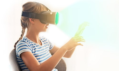 girl with VR goggles
