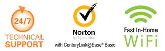 24/7 Technical Support, Fast In-Home WiFi, Norton by Symantec with CenturyLink @Ease Basic