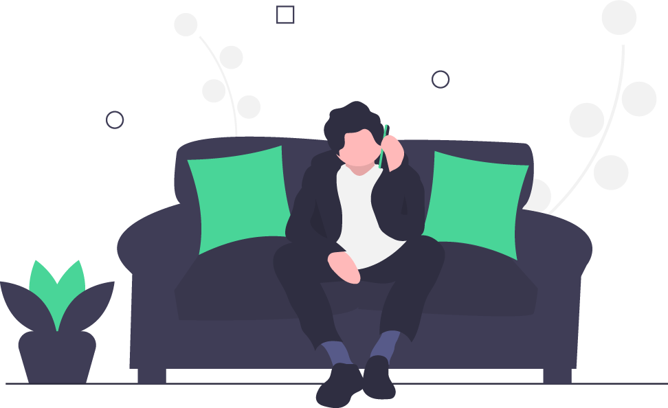 Man on the phone while sitting on a couch. Illustration.