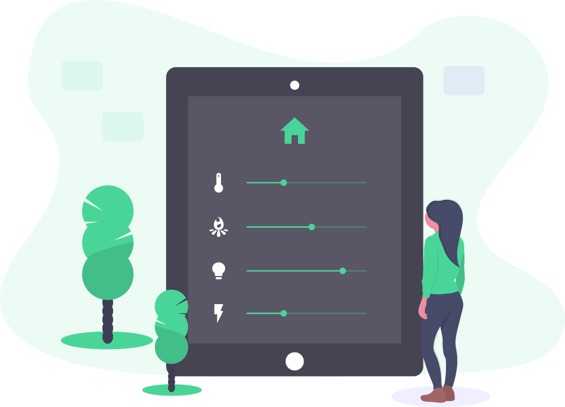 Woman standing in front of large tablet displaying smart home settings. Illustration.
