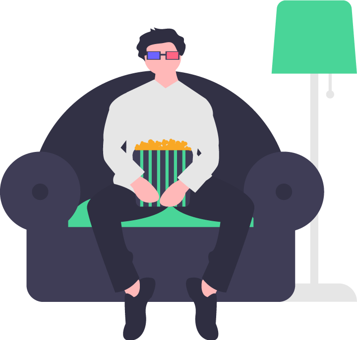 Man sitting on a couch watching TV with a bag of popcorn. Illustration.